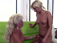 Lesbian oldie Effie is a sex hungry woman with experience. She spreads her legs in front of sweet young girl Lisa and gets her hairy wet snatch licked. Watch mature lady get pleased by lesbian chick.