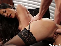 Skinny brunette hussy gets her muf pounded from behind while bending over a table with her leg thrown on it. Later she kneels down to give a deepthroat blowjob.