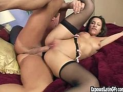 Hear this Latina mommy moaning like crazy as her wet pussy's drilled by this guy's big white cock as she wears stockings.