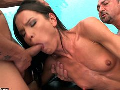 Extremely skinny girl is having fun with two men near a pool. She sucks their cocks devotedly and then lets the dudes slam her pussy and ass at the same time.