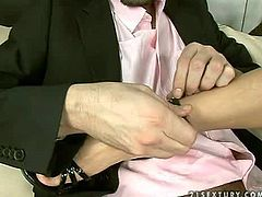 Attractive black haired doll with firm delicious ass and great seductive skill in high heels and black dress gives head and awesome foot job to tall turned on stud
