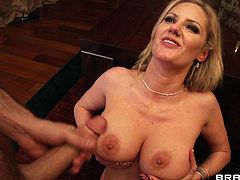 Busty blonde likes to get nasty when having huge cock to play with in hardcore
