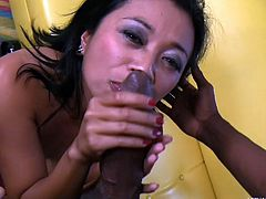 She's a tiny little Filipino goddess who loves to stick big black dick into her pretty mouth and wet vagina. She wraps her lips around his cock. Watch as she blows him hard until he shoots his sperm on her sweet, innocent face.