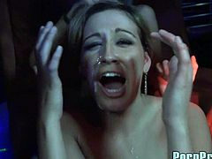 Sluts having huge pleasure during naughty porn party in the club along horny guys
