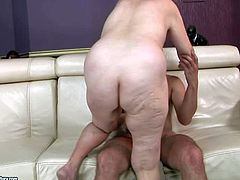 Eve Tickler is a nasty fuck hungry granny who cant get enough. Dirty mature woman with pretty small tits gives blowjob to her fuck buddy and then gets her vagina fucked deep and hard on the sofa.