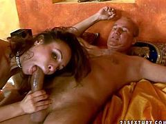 Young ass licking brunette whore with small tits gives head to mature fucker and gets his entire stiff cock up her tight ass in amazing ass to mouth action