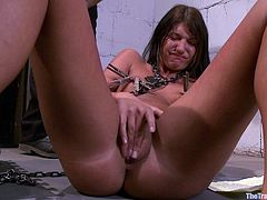 There is no possible escape for this lovely bitch. She gets all tied and is then forced to suck a cock as it is shoved down her throat. Fucking amazing!