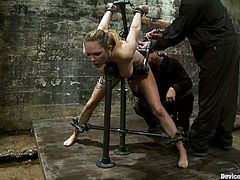 There's some fucked up stuff going on in this BDSM video where the pretty Rain DeGrey is experiencing some extreme bondage, spanking and nipple torture.