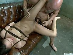 Naughty Eva Fenix gets hanged up to the ceiling and fucked in her mouth. After that she gets her ass destroyed.