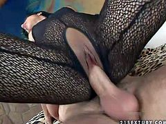 Lusty and skilful black haired Kyra Black with smoking hot firm ass in full body stockings has amazing sixty nine with her handsome lover and rides on his stiff pecker