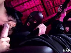 In the vault the beautiful whore Lucy is being surrounded by three hard cocks. She needs to suck all of them with her sensual red lips and when the masked guys had enough with her mouth they take care of her sexy ass. Loads of jizz will look great on her pretty face wouldn't it? Stick around and find out!