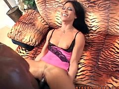 Lovely Asian girl has passionate sex with Black guy. She sucks his big black cock and then gets her pussy torn up.