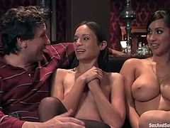 Amber Rayne, Isis Love and some guy are having a good time in a living room. Amber and the man torture Isis and then drill her juicy pussy.