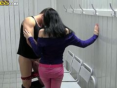 Filthy Russian harlow gives double blowjob in public place before she bends down in order to welcome an intensive drill in doggy style.