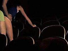 The cinema is where all the action is at, it seems as horny couples in theaters alone, decide to make their own sex movie in this free tube video.