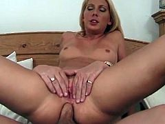A hot, big tits blonde peels her smoking hot booty out of her sexy lingerie to have her throbbing, tight asshole finger fucked. She eagerly returns the favor with a tight lipped blowjob, before burying his large, stiff shaft deep inside her hard squeezing pussy and moist, tight asshole.