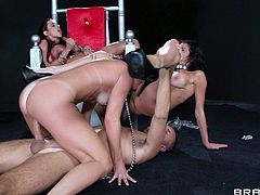 Sexy babes are having fun fucking and sucking huge cock in naughty group action