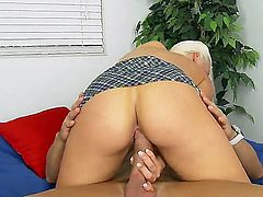 Busty blonde beauty Macy Cartel enjoys riding a fat cock in naughty hard pounding scene