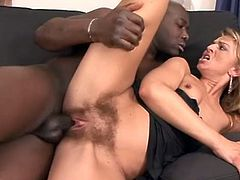blonde has a hairy pussy filled with bbc