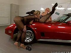 Stunning blondes in body stockings get nasty