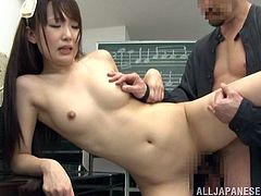 Shy Japanese girl gets seduced by her music teacher. She takes her clothes off and then sucks a dick. Then she lies down on a desk and gets fucked.