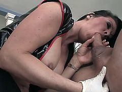 Crazy hot and hardcore brunette milf Raquel Devine prepares her lover Christian XXX for anal penetration by a strap-on dildo. She jerks his dick , licks balls and fingers his asshole!
