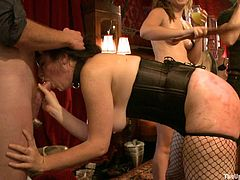 Get a load of this bondage scene where a sexy ladies are not only tortured but also fucked silly by their horny masters.