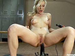 Ashley Fires gets pounded by a rubber dick machine while getting pussy licked by the poly tongue machine. Check out this clip and watch this sexy blonde getting banged!