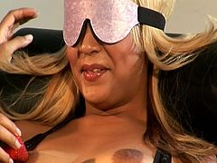 See a vicious blonde milf getting tied up and blindfolded before a naughty brunette Latina mistress munched and dildos her clam into a breathtaking explosion of pleasure.