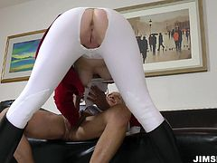 Pale skin blonde MILF in tight white leggings takes huge throbbing cock up her snatch doggystyle. Later she blows that massive prick on her knees.
