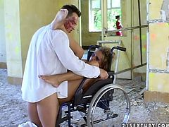 Mandy Bright and Maria Bellucci pretend to be disabled and have fun with some horny doctor. They let him lick and fist their pussies and then get their pussies fucked deep and hard.