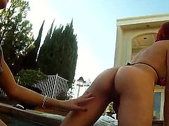 Slutty sexy horny shemales Adrianna Nicole and Cherry Torn enjoys a shemale session in the pool