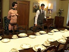 Get a load of this bondage scene where a sexy brunette's t8ied up and masturbated by her master in this hot clip.