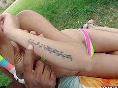 Zarreena is a 2 year old sweet Persian girl with petite body and black hair. Bikini girl goes topless in front of black guy in the garden. He touches her perky tits before she sucks his big dark dick.
