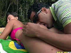 Sex greedy Latin couple swim in the sea before they head to the beach where a svelte young hussy stands in doggy pose in front of aroused BF to demonstrate her juicy ass.