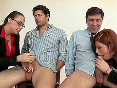 Check out this naughty chicks Brooklyn Lee and Chanel Preston passionately fucking with Giovanni and Steve Holmes at their office!