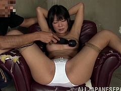 Slutty Asian Chick Has Toys In Her Pussy And Ass As Her Crazy Boyfriend Loves To Force Her To Cum.