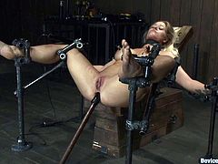This first is designed to arch the slave and twitch her tits. The second one is to have victim's legs spread wide and the third device is for extreme machine doggy style penetration!