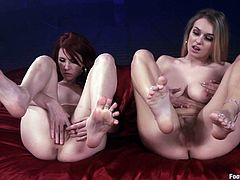 These hottie will make your dick as hard as a rock in this hot foot worshiping scene where they'll drive you crazy while sucking one another's toes in a lesbian moment.