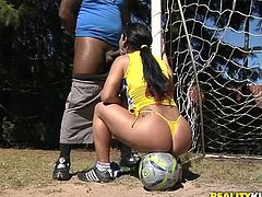 Once a messy Latin hoe is deno demonstrating her stretching skills to a kinky black daddy, she kneels down to welcome his oversized penis inside her mouth for oral fuck.