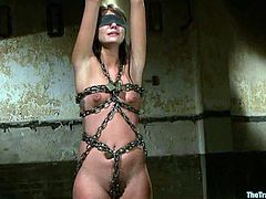 Cute Cassandra Nix gets tied up and then sucks a cock