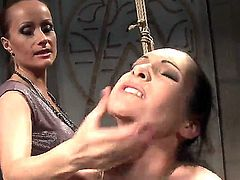 Great brunette gets bondaged and dominated by wild and crazy blonde Katy Parker