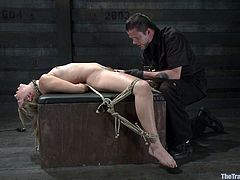 This particular BDSM video has a very nice combination of both pain and pleasure. You can tell that this sexy blonde babe had a lot of fun, but she also suffered more than a bit.