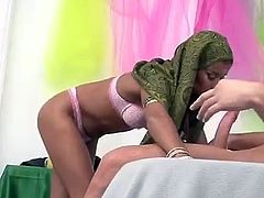 Check out this hardcore scene where a sexy Arab hottie has her wet pussy drilled by a big white cock after she shows off her blowing abilities.