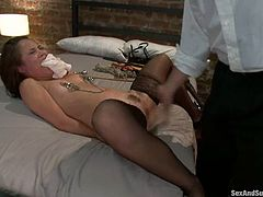 Awesome chick Kristina Rose and insatiable Mark Davis are having some good time in BDSM scene. Mark ties the hottie up and destroys her awesome butt with his hard manhood.