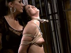 Young naive babe Barbie Pink with hot body gets stripped and tied up in uncomfortable positions by experienced milf Mandy Bright with dark make up and jaw dropping tits.