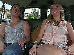 Cute girl Sunny Marie is seduced for fuck by her two boyfriends in their car; she showed them boobs