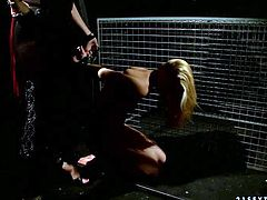 Attractive blonde Linda Ray with perky natural tits and clean pussy gets her bare juicy ass spanked in the dark by dominatrix Katy Parker. Watch lovely slave blonde get punished.
