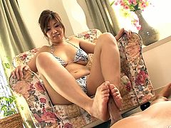 Just look at this versatile nympho from Japan. Pale hooker with droopy boobs is ready to demonstrate her fucking skills. Spoiled brunette is a great expert in providing a dick with a tender footjob, solid blowjob and unforgettable titfuck at once.
