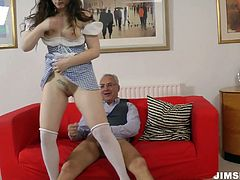Horny gaffer drills the wet pussy of brunette cutie Leone Queen on the floor